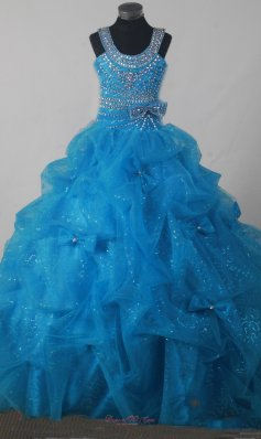 Gorgeous Beading Pick-ups Little Girl Pageant Dress Ball Gown Scoop Floor-length  Pageant Dresses