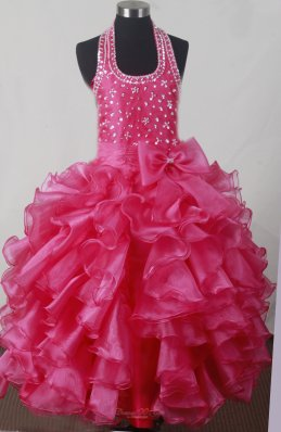 Beading Bowknot Ruffles Luxurious Ball Gown Little Girl Pageant Dress Halter Floor-length  Pageant Dresses