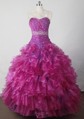 Beading and Ruffles Hand Made Flowers Gorgeous Ball Gown Little Girl Pageant Dress Sweetheart Floor-length  Pageant Dresses