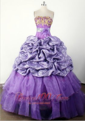 Modest Hand Made Flower Appliques Ball Gown Little Girl Pageant Dress Strapless Floor-length  Pageant Dresses