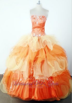 Classical Embroidery With Beading Ball Gown Strapless Floor-length Little Girl Pageant Dress  Pageant Dresses