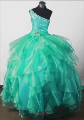 Elegant Beading Ball Gown One-shoulder Floor-length Little Girl Pageant Dress  Pageant Dresses