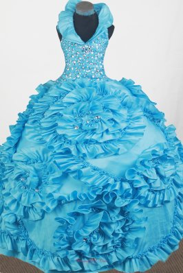 Luxurious Beading Hand Made Flowers Ball Gown Little Gril Pageant Dress Halter Top Floor-length  Pageant Dresses