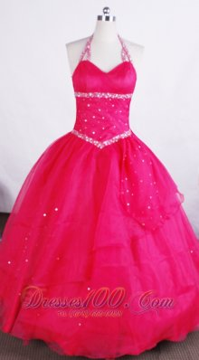 Simple Ball Gown Halter Neckline Floor-length Flower Girl Pageant Dress With Beaded Decorate  Pageant Dresses