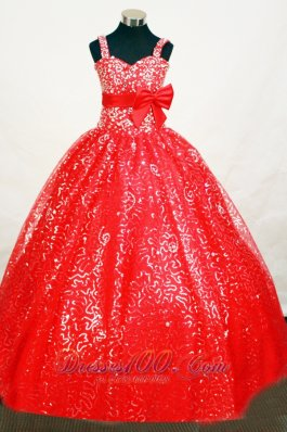 Elegant Sequin Red Flower Girl Pageant Dress With Belt and Beaded Decorate  Pageant Dresses
