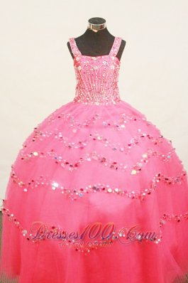 Custom Made Little Girl Pageant Dress BeadingStrap Floor-Length Organza  Pageant Dresses