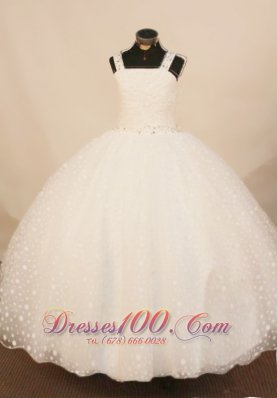 2013 Exquisite White Straps Beaded Decorate Little Girl Pageant Dress