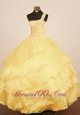 Custom Made Little Girl Pageant Dress One Shulder Neck Floor-Length Yellow Ball Gown  Pageant Dresses