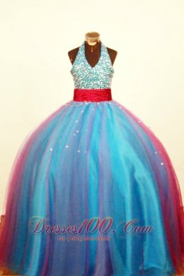 Multi-color Halter Little Girl Pageant Dress Beaded Decorate Bust Beading Ball Gown In 2013  Pageant Dresses