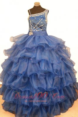 Stylish Ruffled Layeres Little Girl Pageant Dresses Ball Gown Asymmetrical Floor-Length Organza  Pageant Dresses