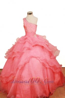 2013 Elegant Watermelon Ruffled LayeresLittle Girl Pageant Dresses One Shoulder Floor-Length