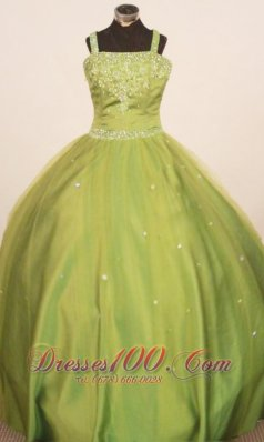 Perfect 2013 Little Girl Pageant Dresses Straps Floor-Length Olive Green Ball Gown  Pageant Dresses