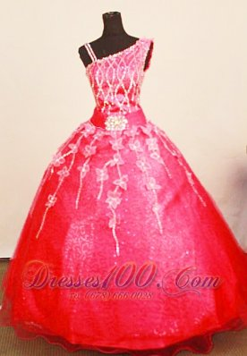 Exquisite 2013 Little Girl Pageant Dresses Coral Red Asymmetrical Appliques Decorate Bust Organza  Pageant Dresses