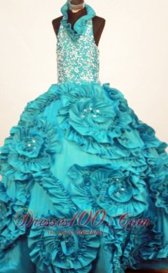Perfect Little Girl Pageant Dresses Turquoise Halter Top Neck Ruffles Taffeta In 2013  Pageant Dresses