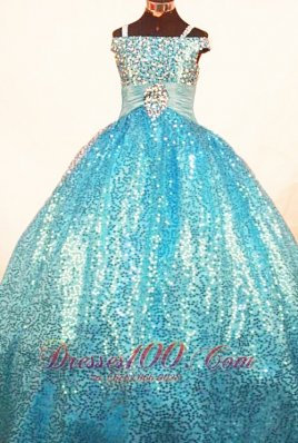 Brand New Paillette Over Skirt Ball Gown Strap Teal Little Girl Pageant Dresses  Pageant Dresses
