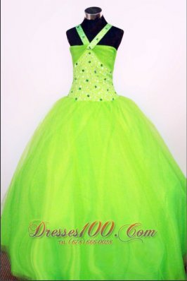 Sweet Ball Gown Halter Top Floor-length Spring Green Beading Little Girl Pageant Dresses  Pageant Dresses