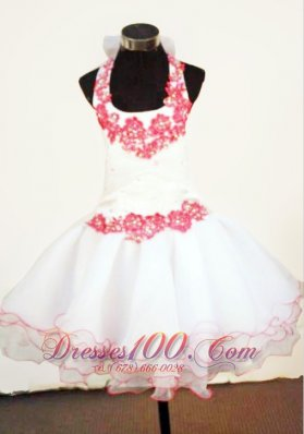 2013 Halter Top Mini-length White Organza Little Girl Pageant Dresses With Appliques