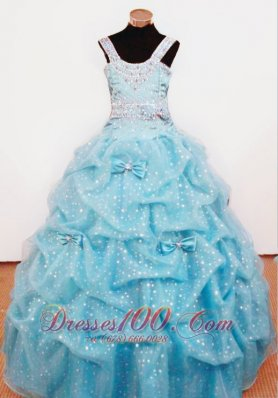 Bowknot Ball Gown Straps Aqua Blue Beading Little Girl Pageant Dresses For Custom Made  Pageant Dresses