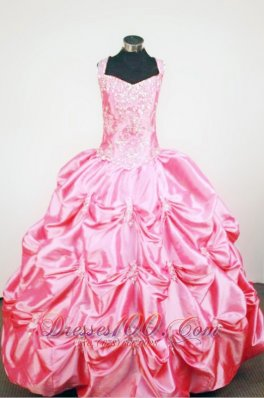 Pick-ups Straps Rose Pink Taffeta Beading Little Girl Pageant Dresses Custom Made  Pageant Dresses