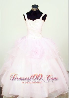Hand Made Flowers Ball Gown Straps Organza Beading Little Girl Pageant Dresses  Pageant Dresses
