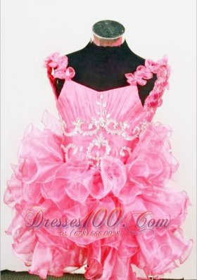 Cute A-Line Straps Mini-length Hot Pink Organza Beading Little Girl Pageant Dresses  Pageant Dresses