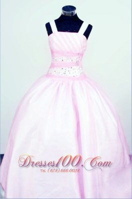 Sweet Straps Customize Baby Pink Taffeta Little Girl Pageant Dresses With Beading  Pageant Dresses