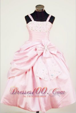 Bowknot Straps Baby Pink Taffeta Beading Little Girl Pageant Dresses For Custom Made  Pageant Dresses
