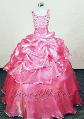 Hottest Appliques Straps Rose pink Organza Beading Little Girl Pageant Dresses  Pageant Dresses