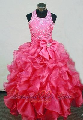 Sweet A-Line Halter Top Red Organza Beading Little Girl Pageant Dresses Custom Made  Pageant Dresses