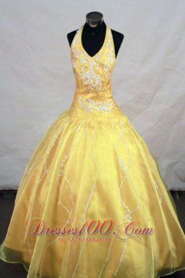 Yellow Halter Top Appliques Little Girl Pageant Dresses With Organza Hottest  Pageant Dresses