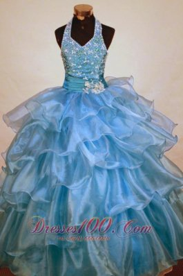 Beaded Decorate Shoulder Halter Top Light Blue Organza Beading Little Girl Pageant Dresses  Pageant Dresses