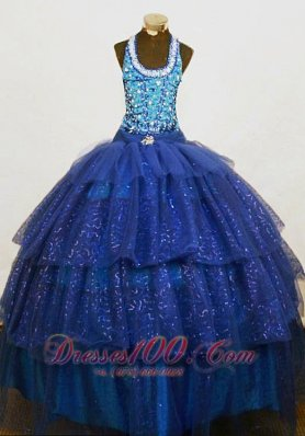 Brand New Beaded Halter Top Blue Organza Beading Little Girl Pageant Dresses  Pageant Dresses