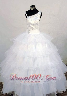 Asymmetrical Neckline Wonderful Beading Little Girl Pageant Dresses White Organza  Pageant Dresses