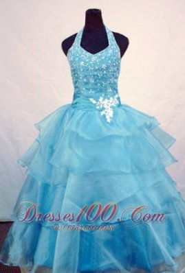 Custom Made Ball Gown Halter Top Beading Little Girl Pageant Dresses Light Blue Orangza  Pageant Dresses