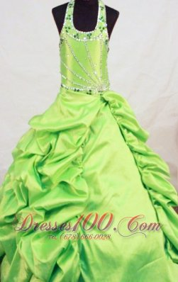 2013 Yellow Green Taffeta Beading Little Girl Pageant Dresses With Halter Top
