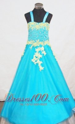 Popular A-Line Strap Little Girl Pageant Dresses With Aqua Blue Appliques  Pageant Dresses