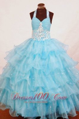 Halter Top Aqua Blue Organza Appliques Little Girl Pageant Dresses  Pageant Dresses