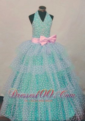 Bowknot Ball Gown Halter Top Turquoise And White Beading Little Girl Pageant Dresses Hottest  Pageant Dresses