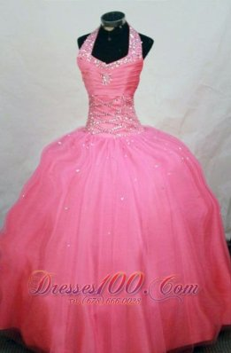 2013 New Arrival Ball Gown Halter Top Waltermelon Beading Little Girl Pageant Dresses