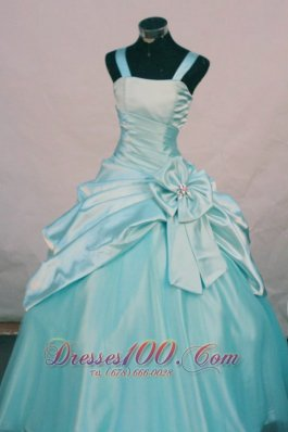 Custom Made Straps Aqua Blue Taffeta Little Girl Pageant Dresses With Hand Made Flowers  Pageant Dresses