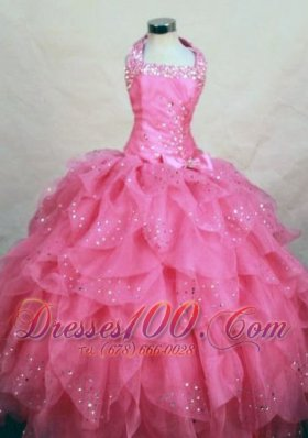 Wonderful Halter Top Hot Pink Organza Beading Little Girl Pageant Dresses  Pageant Dresses