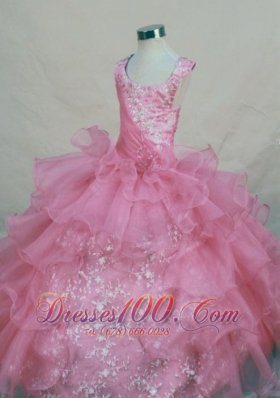 Scoop Pink Organza Appliques Little Girl Pageant Dresses For 2013 Custom Made  Pageant Dresses