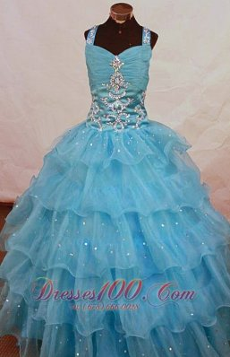 Romantic Straps Floor-length Aqua Blue Organza Beading Little Girl Pageant Dresses  Pageant Dresses