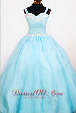 Popular Ball Gown Strap Custom Made Aqua Blue Appliques Little Girl Pageant Dresses