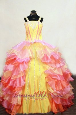 Ruffles Layer Ball Gown Lovely Straps Floor-Length Multi-colored Beading Little Girl Pageant Dresses  Pageant Dresses