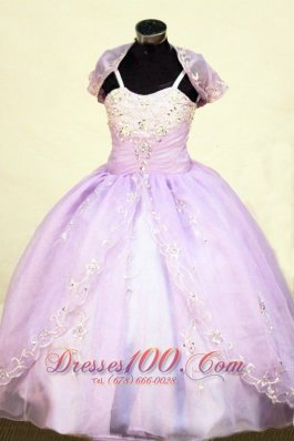Beading Straps Floor-Length Lilac Ball Gown Brand New Little Girl Pageant Dresses  Pageant Dresses
