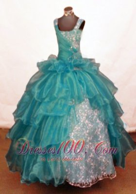 Luxurious Ball Gown Off The Shoulder Neckline Floor-Length Blue Beading Little Girl Pageant Dresses  Pageant Dresses