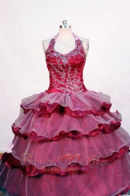 Beading and Layer Luxurious Fuchsia Ball Gown Halter Floor-length Little Girl Pageant Dresses  Pageant Dresses