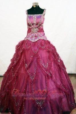 Beading Square Elegant Tulle Ball Gown Little Girl Pageant Dresses Floor-length Fuchsia  Pageant Dresses