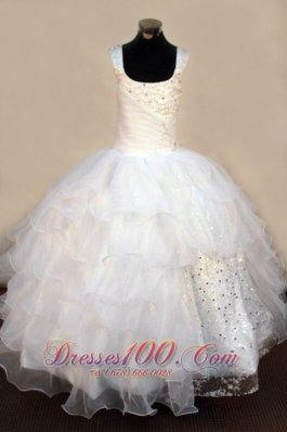 Exquisite Beading Organza Ball Gown White Square Floor-length White Little Girl Pageant Dresses  Pageant Dresses
